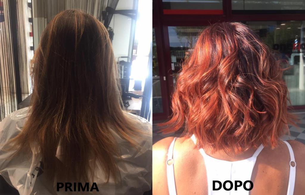 donna con capelli da lunghi a corti e cambio colore capelli
